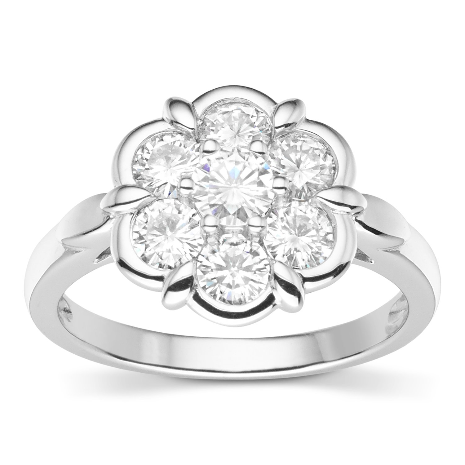 Forever Classic Round Cut 4.0mm Moissanite Flower Ring-size 7, 1.19cttw DEW By Charles & Colvard by Charles & Colvard