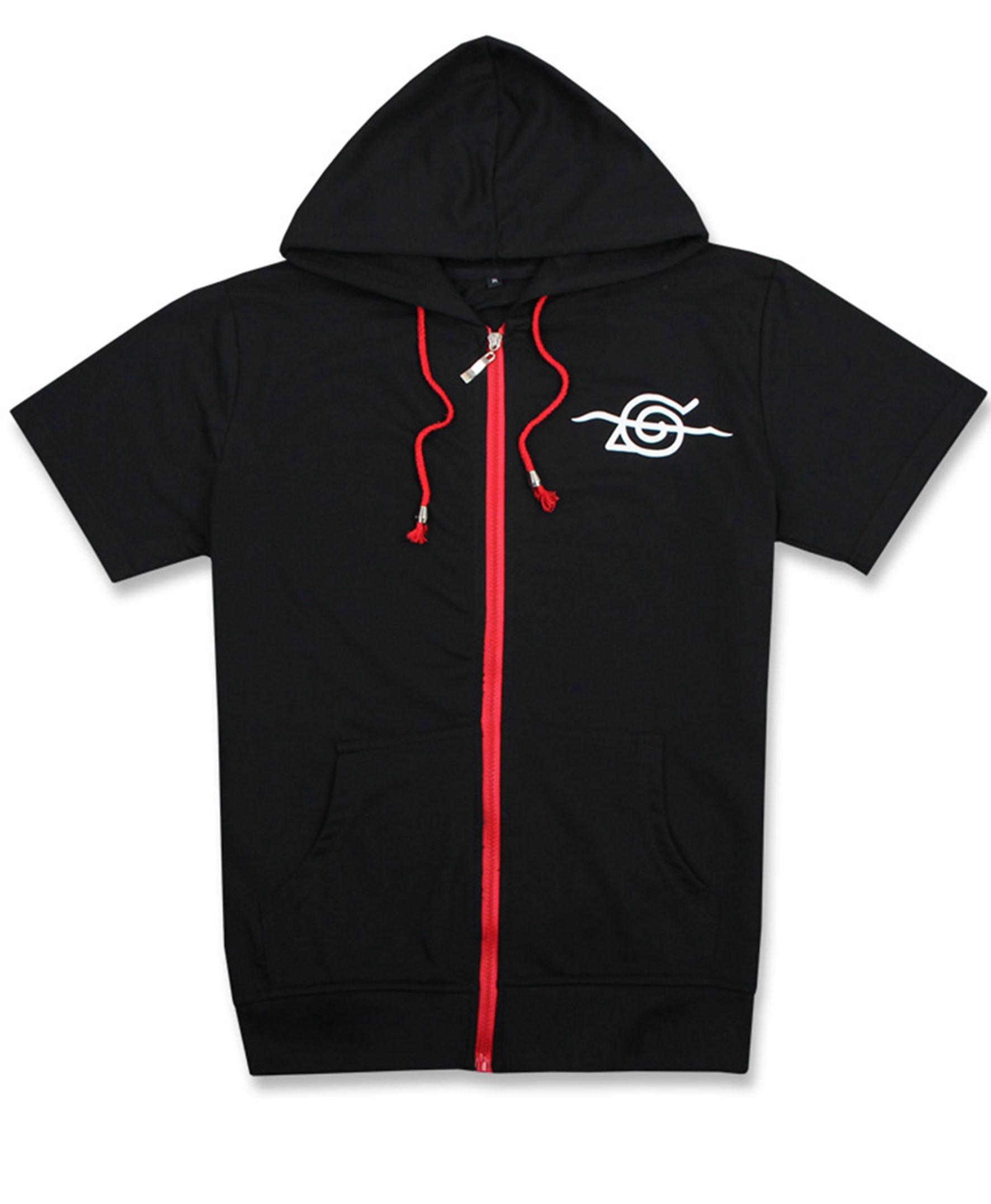 COSAUG Akatsuki Itachi Red Cloud Printed Cosplay Hoodie Short Sleeves Coat Jacket (M) by COSAUG