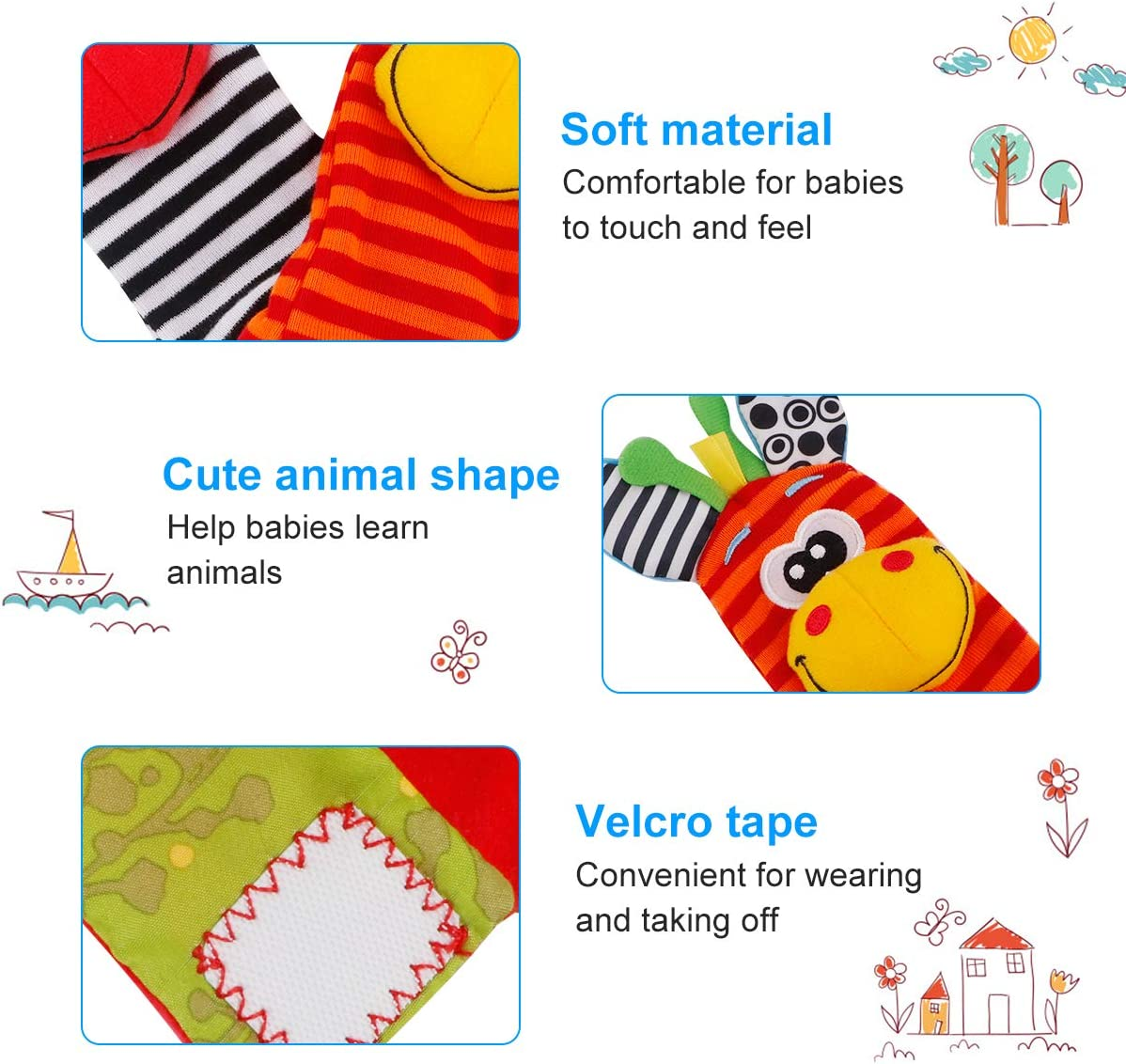 FancyWhoop Baby Socks Toys Wrist Rattle and Foot Finder Developmental Early Educational Toys Set Gift for Infant Newborn Girl /& Boy 0-3 3-6 Months 8 PCS