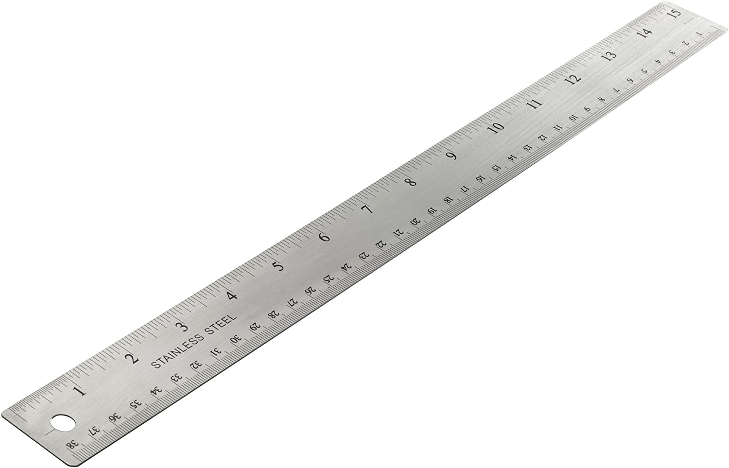 Officemate OIC Classic Stainless Steel Metal Ruler, 15 inches with Metric Measurements (66612)