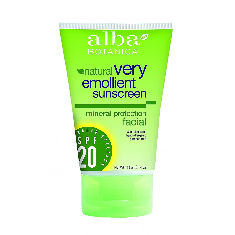 4 Pack - Alba Botanica Very Emollient Mineral Sunscreen Facial, SPF 20 4 oz Art Naturals DemRelax Cream - 2 oz