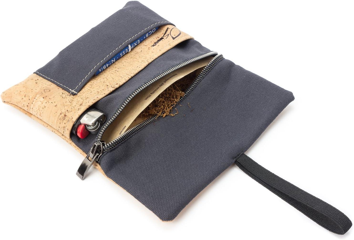 Compartiments pour Briquet Anthracite /& Beige Porte-Tabac zipp/é- Fabriqu/é en UE by SIMARU Blague /à Tabac /à Rouler en Cuir V/égan Id/ée Cadeau pour Les Fumeurs filtres et Porte-papiers