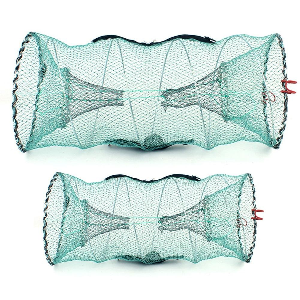 Round Fishnet Lobster Crab Crawfish Eel Loach Shrimp Fishing Catching Tool Trap Cage Fishing Keep Net Automatic Folding Spring Crab Cage LeKing