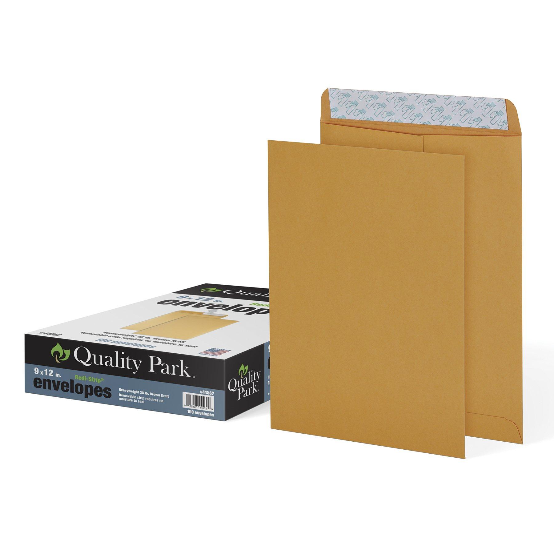 Quality Park 9'' x 12'' Self-Seal Catalog Envelopes, For Mailing, Organizing and Storage, Brown Kraft, Heavy 28-lb Paper, 100 Per Box (QUA44562)