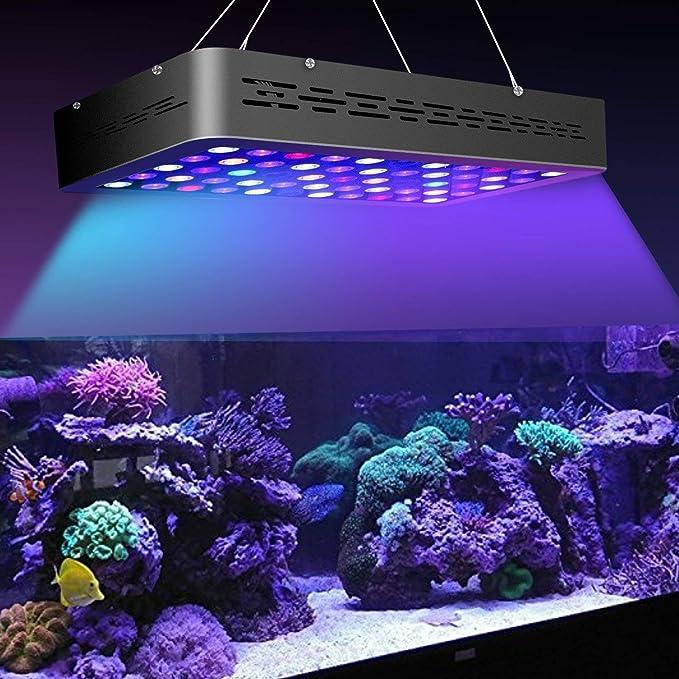 MarsHydro marsaqua 165 W Regulable LED Acuario Lámpara Iluminación Espectro Total para Pescado Fresco Agua y Agua Salada Reservorio Coral Azul y Blanco ...