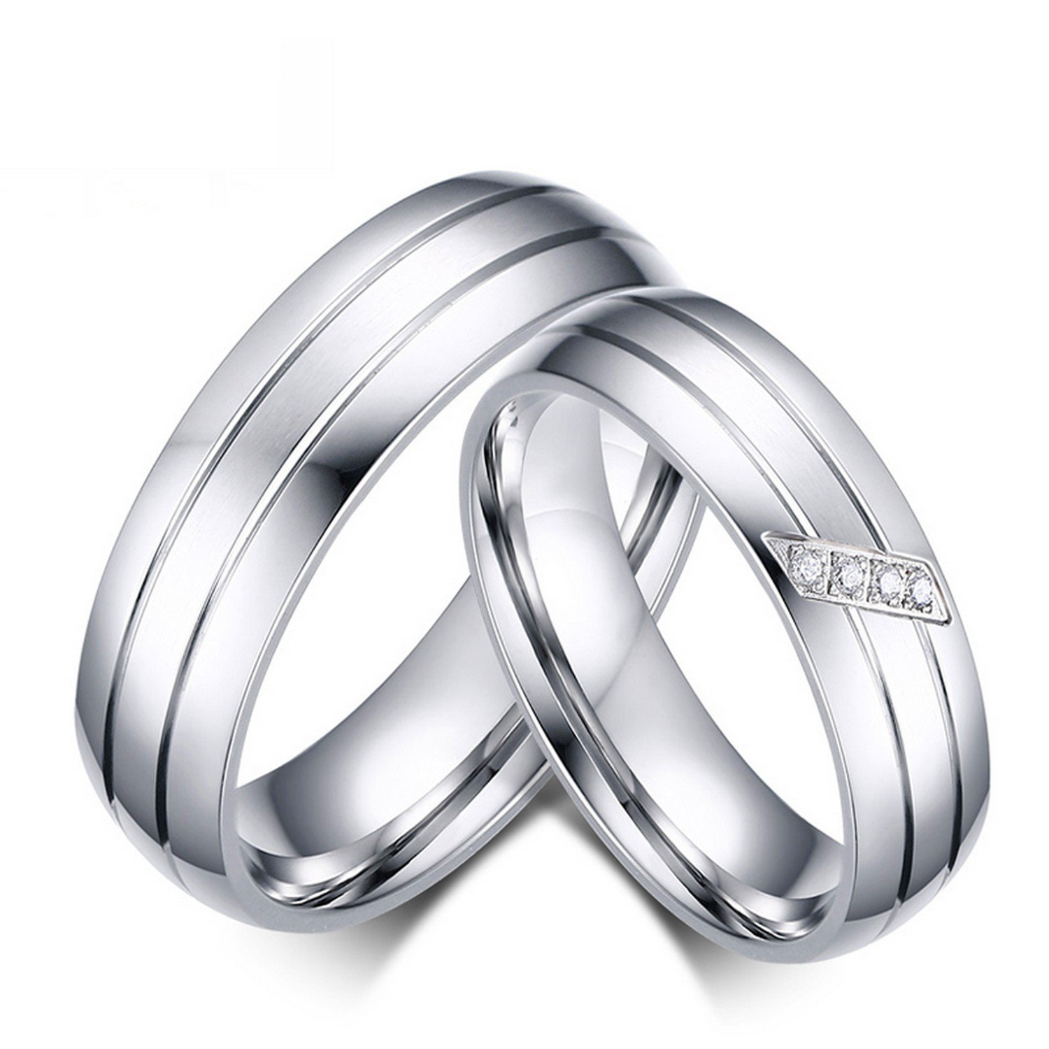 Amazon Com Slyq Jewelry Wedding Ring Stainless Steel Female Male