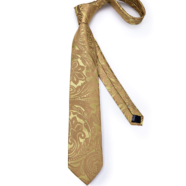DiBanGu Paisley Tie and Pocket Square Mens Woven Necktie Silk Handkerchief and Cufflink Set