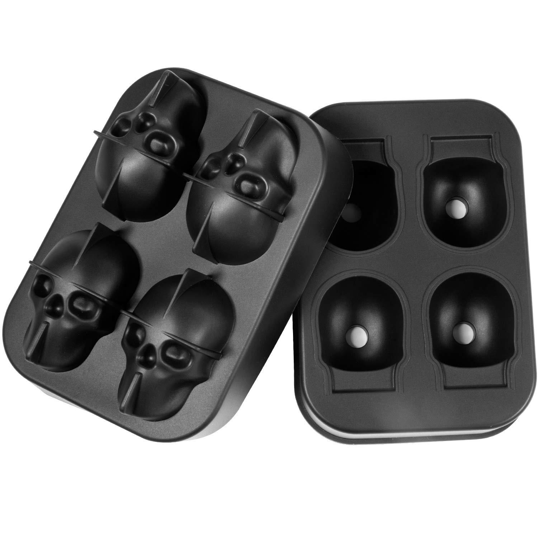 Formine in Silicone per Cubetti di Ghiaccio Senza BPA Remebe 3D Cranio Cubetto di Ghiaccio Stampi con Coperchio Set di 4 Stampi per Ghiaccio in Silicone di Grandi Dimensioni Ideale per Whisky