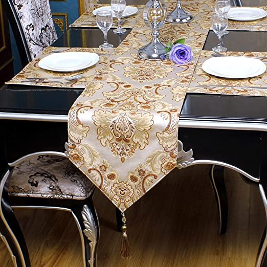 Christmas Tablescape Decor - Exquisite handmade jacquard embroidered detailed floral tassel table runner