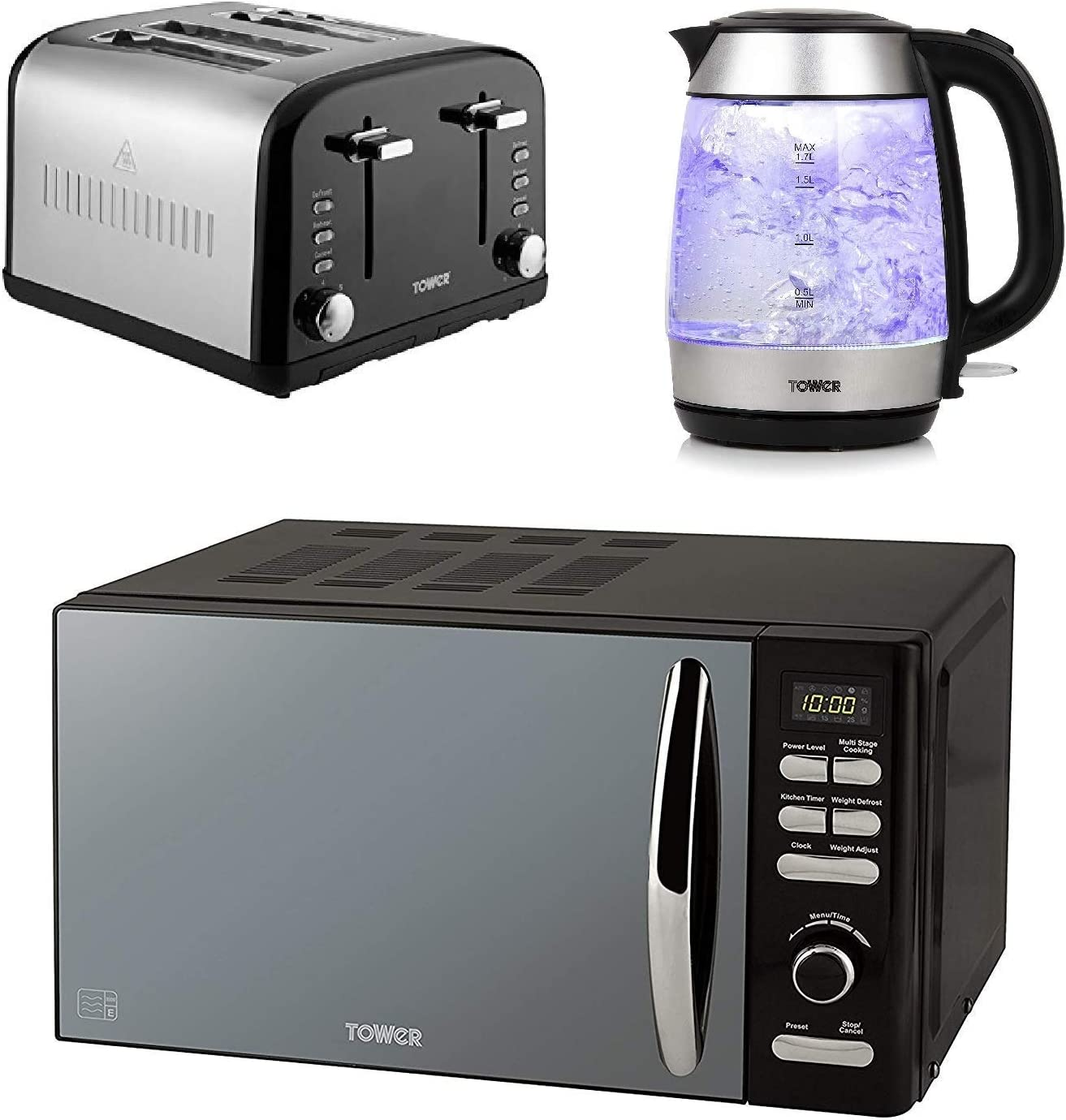 Tower Infinity T24019 Mircowave with Kettle and 4 Slice Toaster Set Black