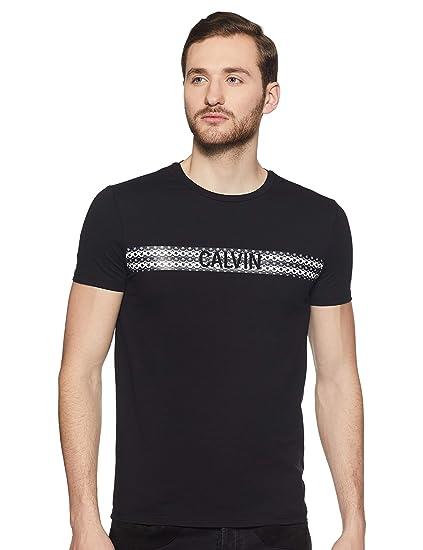 28f2de5f7d0b Calvin Klein Jeans Men's Striped Slim fit T-Shirt (J312330_Black_Small)