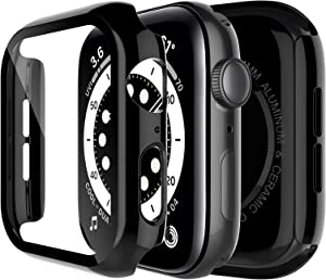 LK 2 Pack Case for Apple Watch Series 6 SE 44mm Built-in Tempered Glass Screen Protector, Model No. TCB961, Hard PC Protector Cover for Apple Watch Series 6 SE 44mm, Plating Black