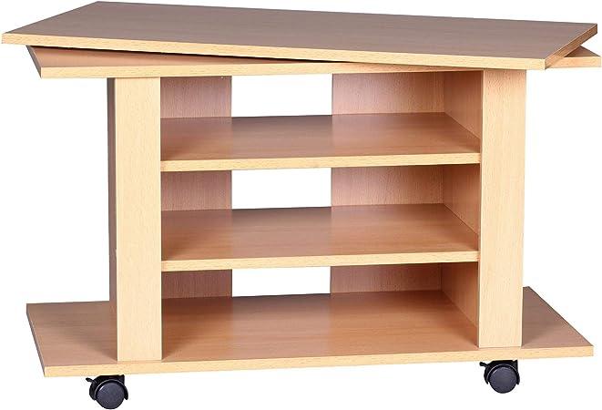 FineBuy – Mueble para televisión (Giratorio Sobre Ruedas   TV Banco 75 x 38 x 50 cm