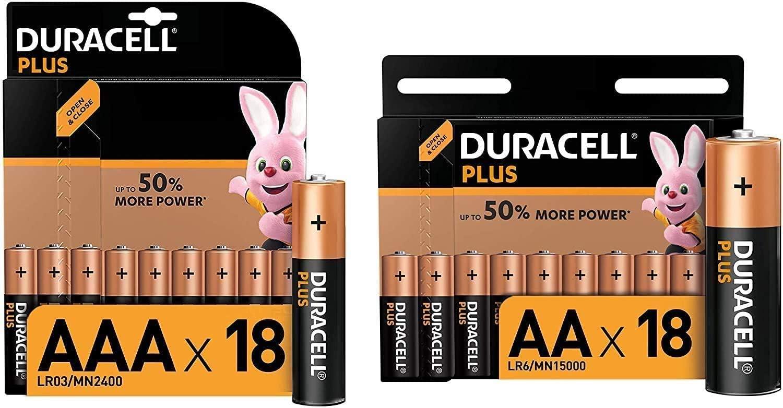 Duracell - Plus AA+AAA, Pilas Alcalinas (2 paquetes de 18 con apertura simplificada) 1,5 Voltios