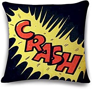 Easternproject Super Hero Throw Pillow Case Cushion Cover Comic Book Exclamation Pattern Decorative Square 18x18 Inch Pillowcase Best Gift (Crash)