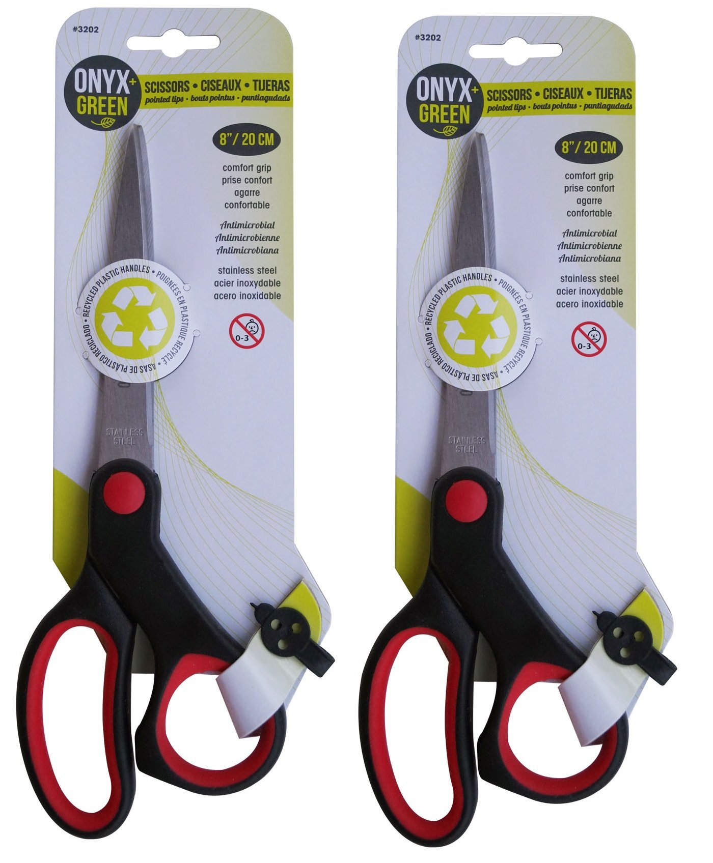 """ONYX+GREEN Comfortgrip Scissors, 8"""" Pointed Tip, (2 Pack of 1 Pair) Eco-Friendly Scissors Made from Anti-Microbial Recycled Plastic– for School Supplies, Office and Home"""