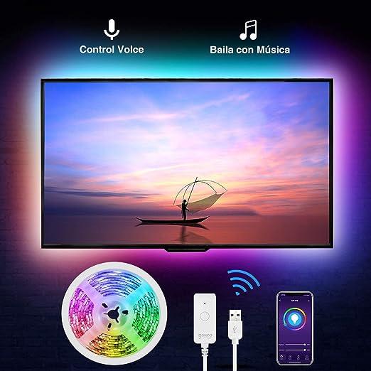 Tiras Led RGB Inteligente, Gosund, para TV Gaming, con Autoadhesiva 3M, Compatir con Alexa/Assisant, Control de Voz/Remoto, Multicolor, Modos de Escena, Brillo Ajustable, IP65-Impermeable, 2.8M: Amazon.es: Iluminación