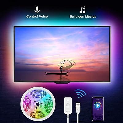 Tiras Led RGB Inteligente, Gosund, para TV Gaming, con Autoadhesiva 3M, Compatir con Alexa/Assisant, Control de Voz/Remoto, Multicolor, Modos de Escena, Brillo Ajustable, IP65-Impermeable, 2.8M