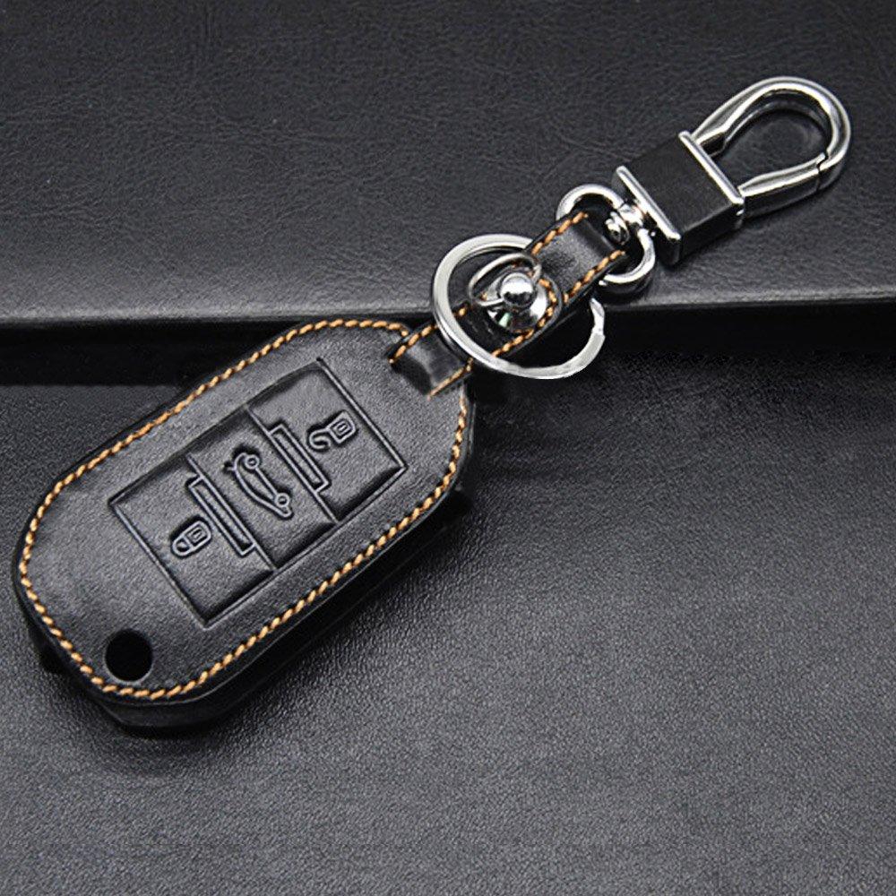 Vococal 3 Tasti Pelle Auto Telecomando Portachiavi Copertina Caso con Key Chain per Peugeot 508 307 308 408 2008 3008
