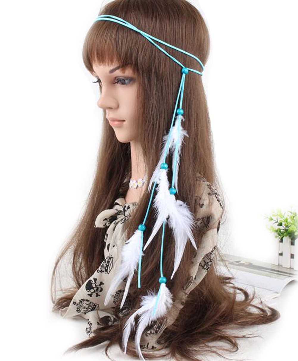 Amazon.com  Leather Rope Bohemian Feather Headband-Feather Headband Hippie  Boho Beads Masquerade Fancy Dress Headpieces Hippie Hair Accessories  Beauty 0762d36be29