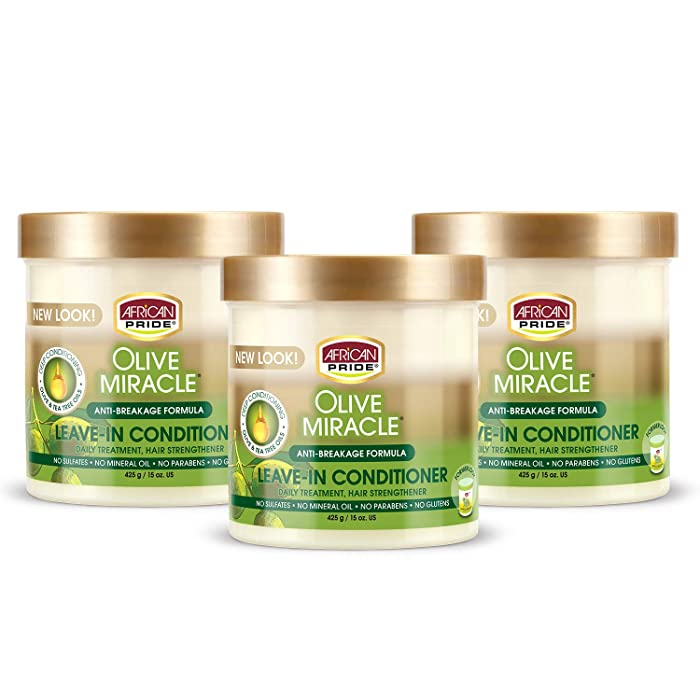 African Pride Olive Miracle Leave In Conditioner Creme (3 Pack), enriched with olive and tea tree oil to protect and condition scalp and hair, 15oz.