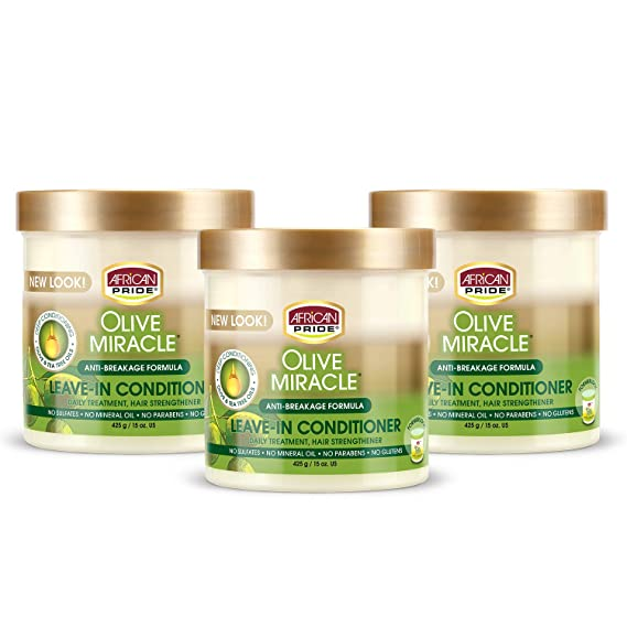 Amazon.com: African Pride Olive Miracle Leave In Conditioner Creme (3 Pack), enriquecido con aceite de oliva y árbol de té para proteger y acondicionar el cuero cabelludo y el cabello, 15 oz.: Beauty