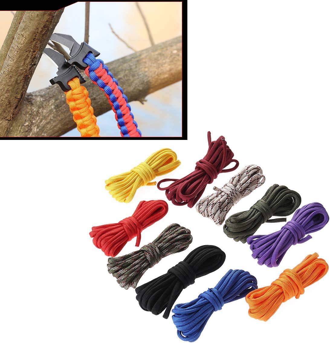 SUPVOX Paracord Pulsera Cuerda Cuerda de paraca/ídas Supervivencia al Aire Libre Conjunto de Cuerdas seguras para Bricolaje 10pcs 3 Metros