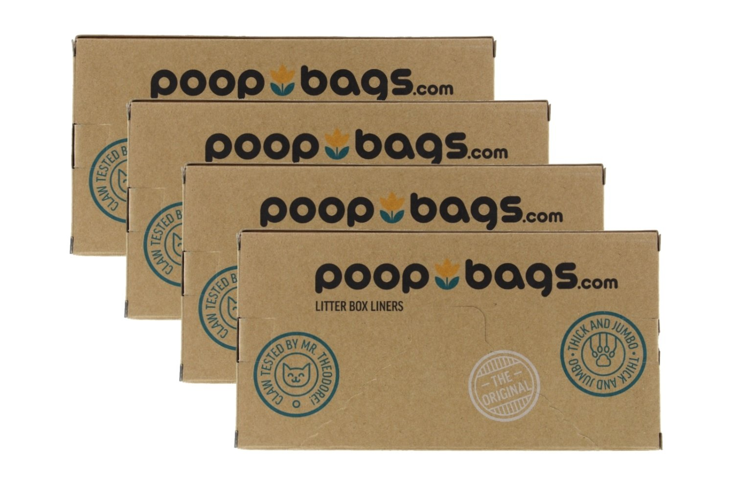 PoopBags Recycled 36x18 Cat Pan Liners, 40 Count- Eco- Friendly Kitty Litter Liners- 2.4 Mil
