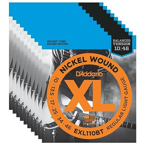 10 Sets de D Addario EXL110BT níquel Wound Cuerdas para guitarra eléctrica, tensión equilibrada