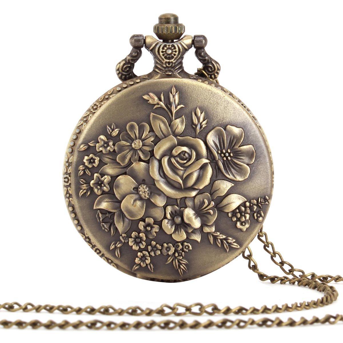 | ALIENWOLF Antique Analog Rib Pocket Watch Watches Pendant + Chain Flowers
