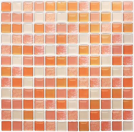 Yoillione 3d Mosaic Tile Sticker Removable Wallpaper Tile Purple Pvc Square Decorative Vinyl Tile Decals 3d Self Adhesive Wall Tiles Bathroom Wall Tiles For Kitchen Backsplash Purple 4 Sheets Home Stickers