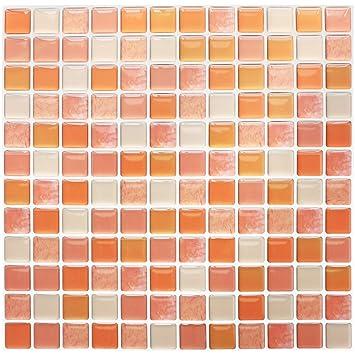 Yoillione Fliesenaufkleber Badezimmer Fliesenfolie Mosaik Fliesensticker  Bad Fliesen Selbstklebend Fliesendekor, Orange 3D Fliesenaufkleber kKüche  ...