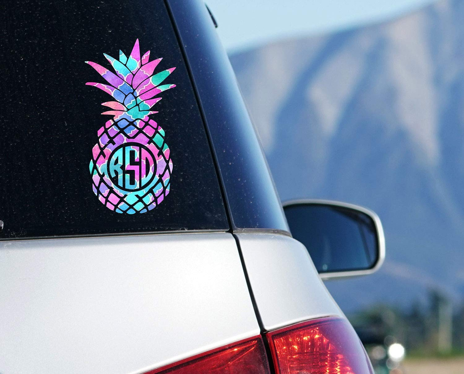 Amazon com pineapple monogram car decal tropical sticker for tumbler laptop decal your choice of size and color handmade