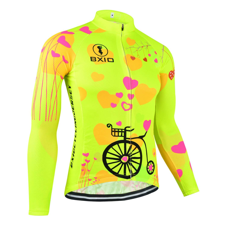 BXIO Maglia Ciclismo Donna Manica Lunga Maglia Traspirante Estate Anti-Rughe Riflettenti polarizzati Abbigliamento Anti Bicicletta