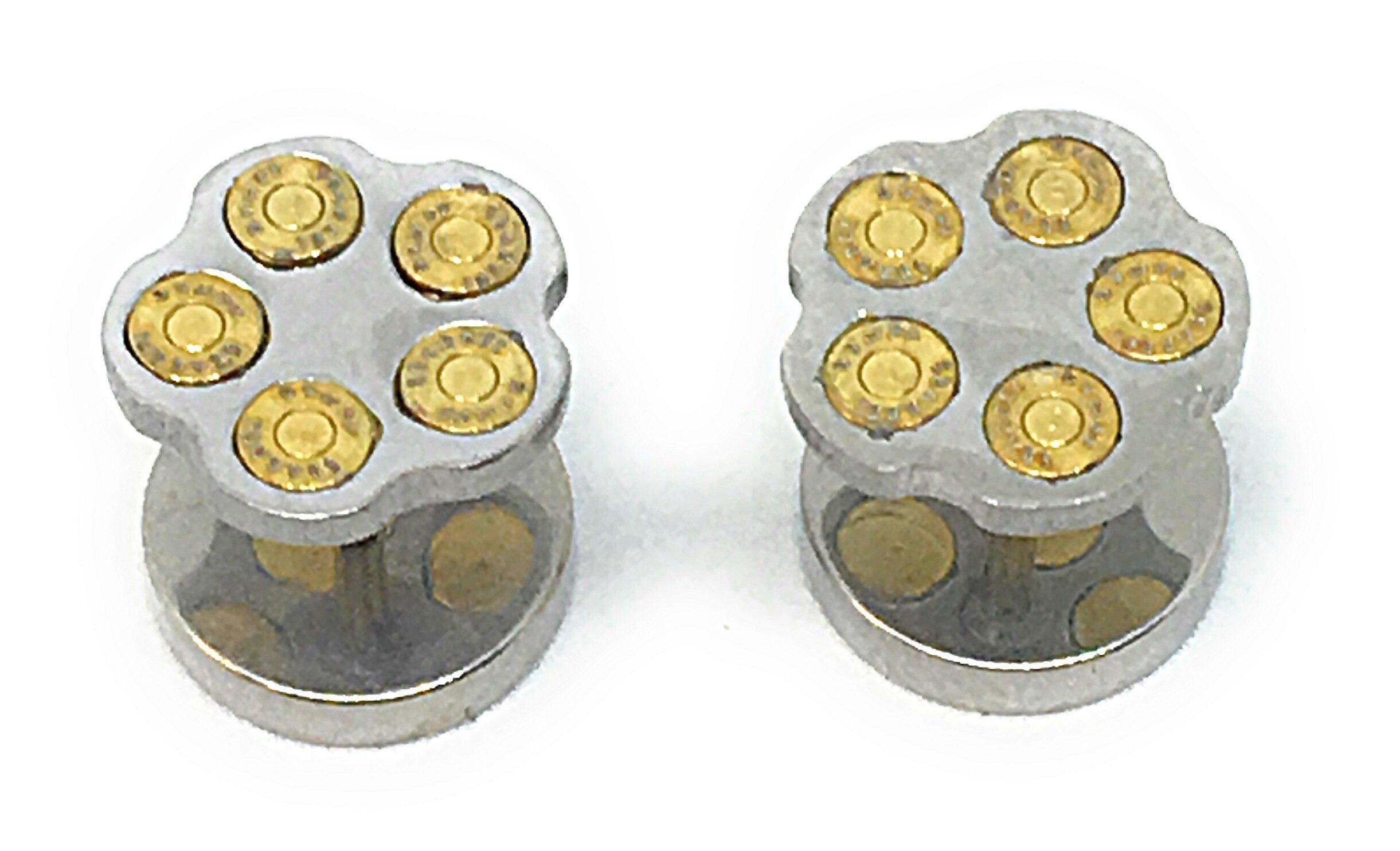 HYPOALLERGENIC Bullet Earrings for Men Stud Earring Screw Back Stainless Steel [Multiple Colors] - Unisex (Silver)