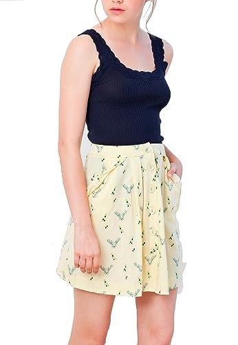 Tiralahilacha 240, Falda Casual para Mujer, Amarillo, 42 (Tamaño del Fabricante:L)