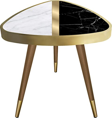 VHD Black White Marble Design Triangle Side Table End Table Coffee Table Sofa Table Small Table