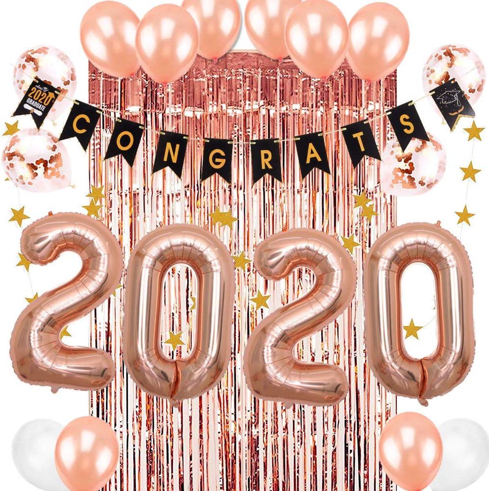 Easy Joy Kit de Suministros 2020 Juego de Decoración de Graduación de Universidad, Congrats Banner Estrellas Globos de Aluminio de Oro Rosa Globos de Confeti, Decoracione de Fiesta para Niña y Mujer