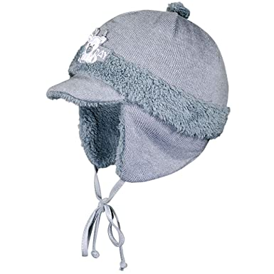 Fiebig - Baby boys lined baseball cap with collar winter hat with ... ae4344332de3