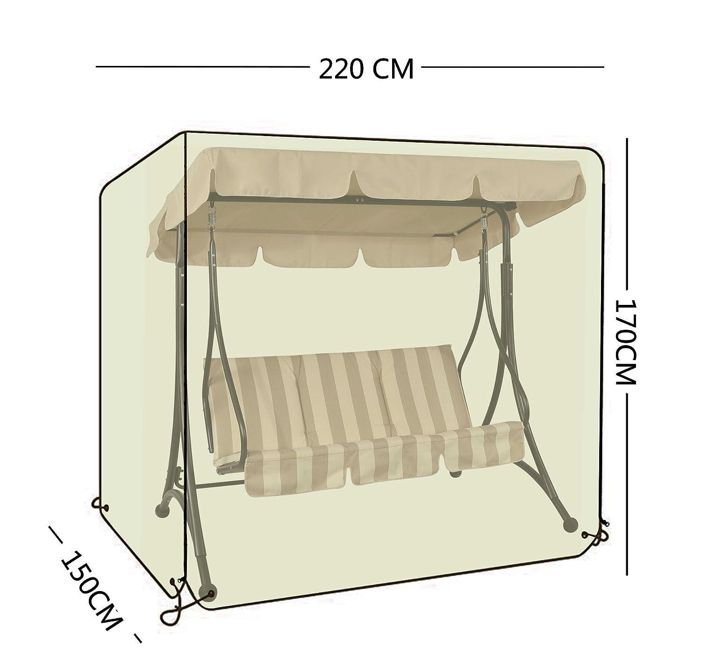 OOFIT Garden Swing Seat cover, altalena amaca copertura, impermeabile, per 3 posti altalena copertura resistente tessuto Oxford 600D, nero