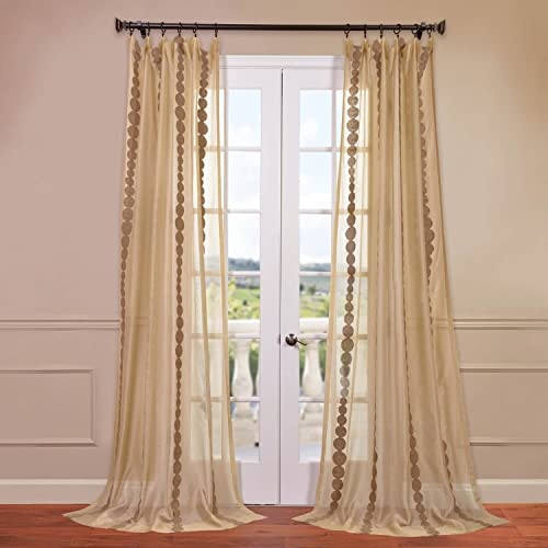 HPD Half Price Drapes SHCH-EMBOCS3595-120 Embroidered Sheer Curtain 1 Panel , 50 X 120, Cleopatra Gold