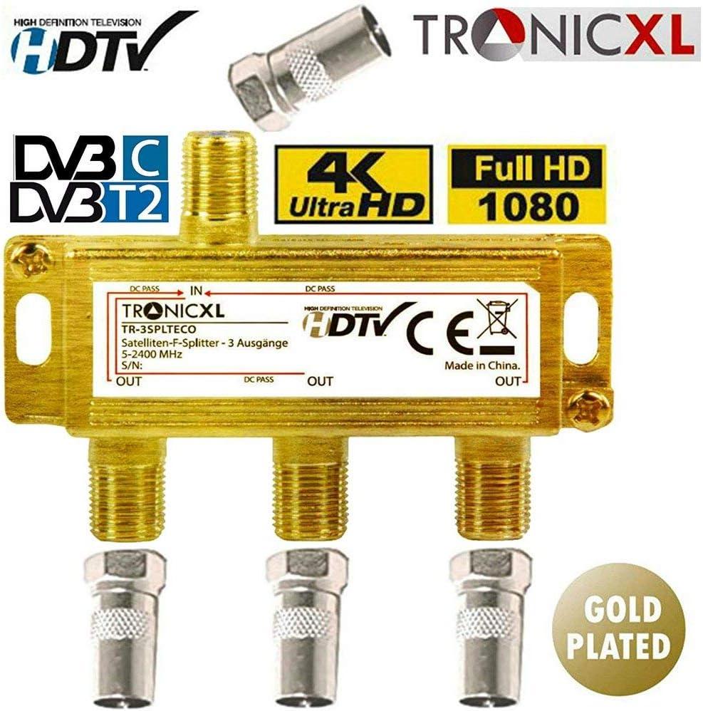 2 Fach Verteiler BK Kabel Fernsehen Antenne DVB-C-T Weiche Digital HD 3D 4K