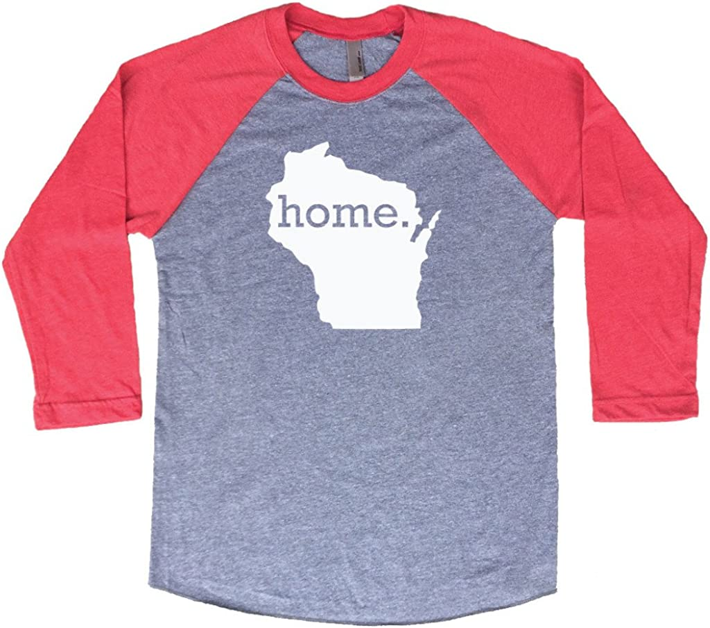 Homeland Tees Wisconsin Home 3/4 Length Baseball Style Raglan T-Shirt
