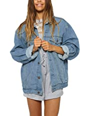 Just Quella Women's Oversize Vintage Washed Boyfriend Denim Jacket Long Sleeve Classic Loose Jean Trucker Jacket