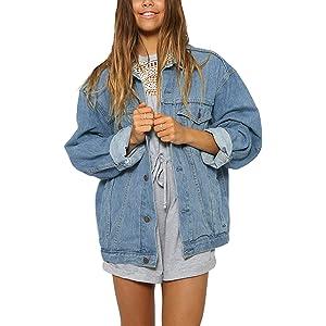 066a2b0d39a Eliacher Women s Boyfriend Denim Jacket Long Sleeve Loose Jean Jacket Coats