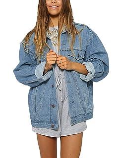 c9b587b7c Eliacher Women s Boyfriend Denim Jacket Long Sleeve Loose Jean ...