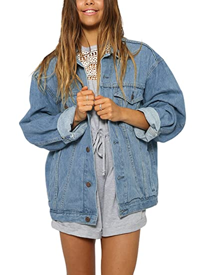 Eliacher Women S Boyfriend Denim Jacket Long Sleeve Loose Jean