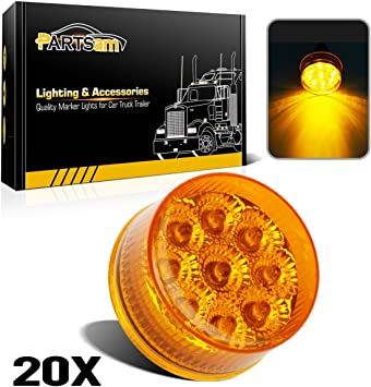 "20PCS 12V 4/"" Sealed Clear White 9 LED Side Marker Lights For Truck Trailer Lorry"