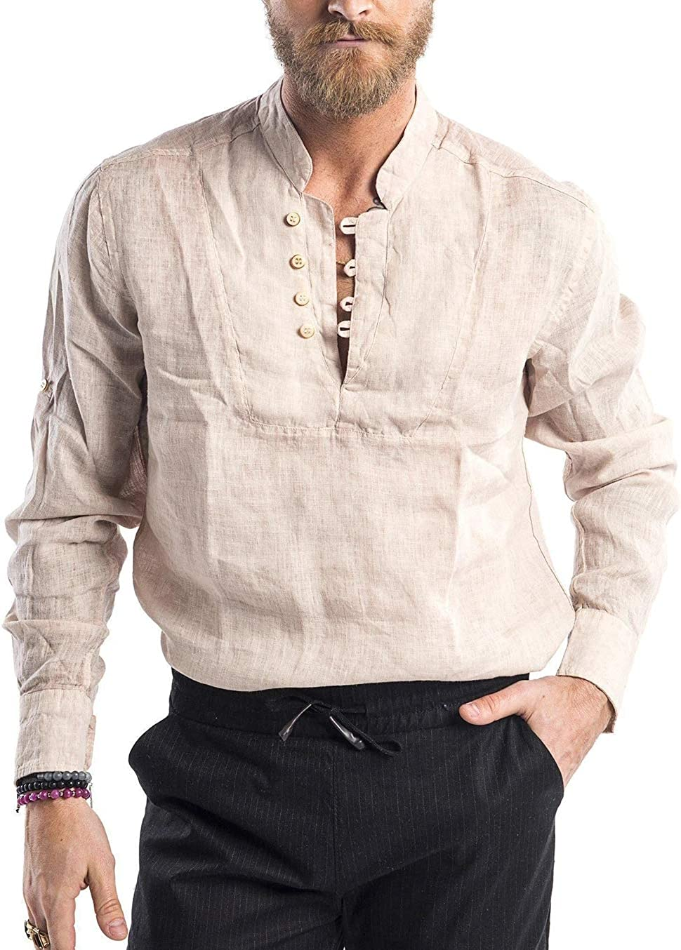 Karlywindow Mens Casual Cotton Shirt Long Sleeve Button Down Lightweight Basic Beach Yoga Tops