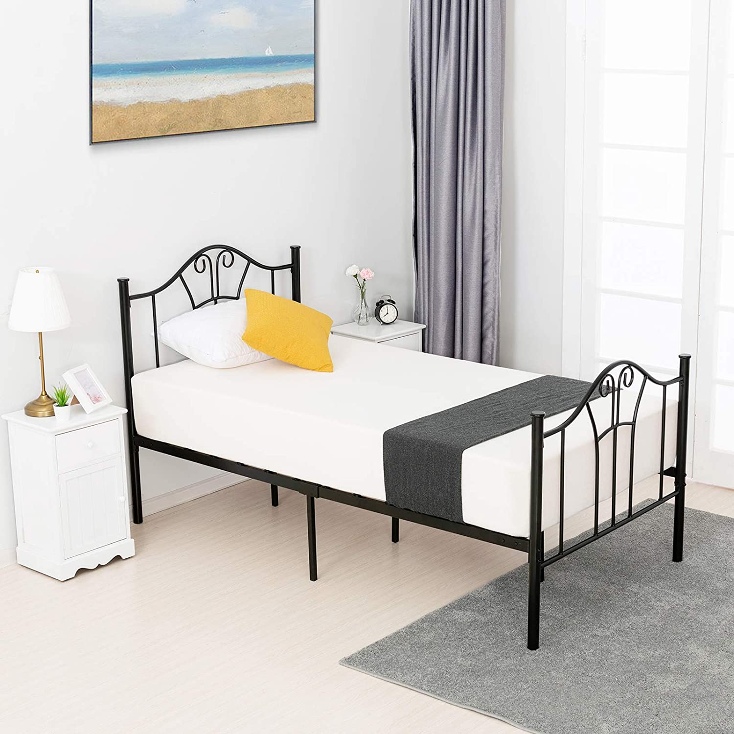 mecor Metal Twin Bed Frame, Platform Bed with Curved Steel Headboard Footboard, with Durable Metal Slat Support, No Box Spring Needed, Twin Size, Black